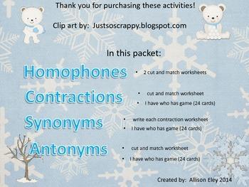 Synonym, Antonym, Homophone, and Contraction bundle