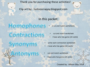 Synonym, Antonym, Homophone, and Contraction bundle