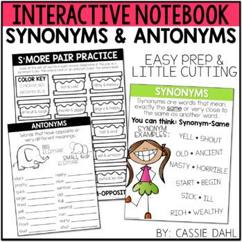 3f012011d970 Synonym   Antonym Interactive Notebook Synonym   Antonym Interactive  Notebook