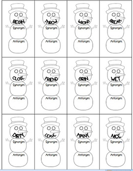 Synonym-Antonym Practice Kit Snowman/Winter-themed