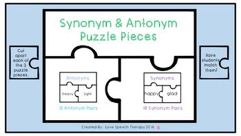 Synonym & Antonym Puzzle Pieces!