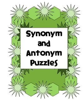 Synonym Antonym Puzzles for Centers Stations with Modified Set