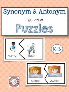 Synonym Antonym Puzzles (two piece) Vocabulary