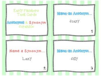 Synonym & Antonym Scramble Task Cards