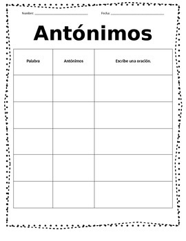Synonym Antonym Spanish Quick Center
