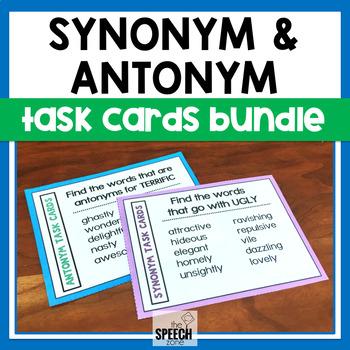 Synonym & Antonym Task Cards Bundle