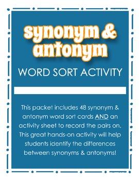 Synonym & Antonym Word Sort Activity for Grades 2, 3, 4 {Literacy Station}