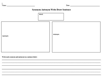 Synonym Antonym Write Draw Sentence
