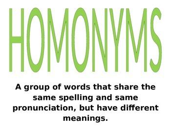 Synonym, Antonym and Homonym Posters