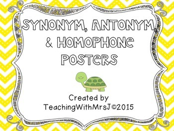 Synonym, Antonym, and Homophone Posters