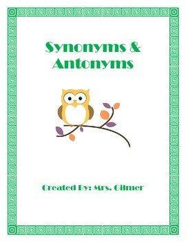 Synonym & Antonyms Charts and Sort