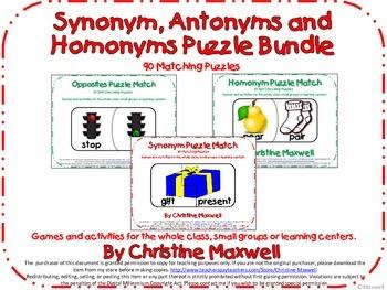 Synonym, Antonyms and Homonyms/Homophones Puzzle Bundle