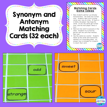 Synonyms, Antonyms, and Shades of Meaning Centers