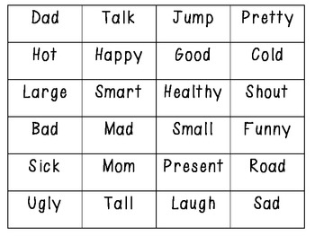 Synonym BINGO- Great for a review game or center!
