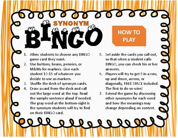 Synonym BINGO for Middle School