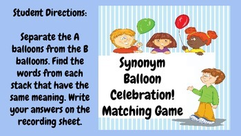 Synonym Balloon Celebration!!!! - Matching Game