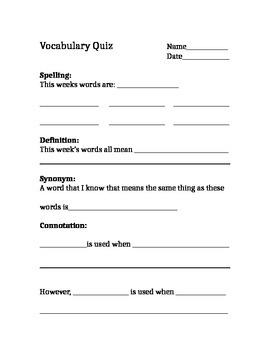 Synonym Based Vocabulary List