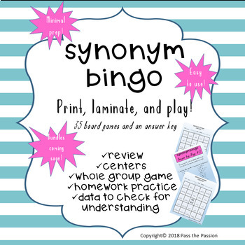 Synonym Bingo Game-Centers or Whole Group-36 Boards, 48 Pairs of Words