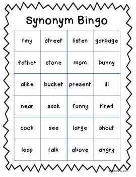 Synonym Bingo - Great for a Fast Finisher or Literacy Center