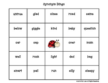 Synonym Bingo Level One