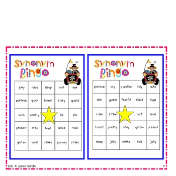 Synonym Bingo and other Synonym Games