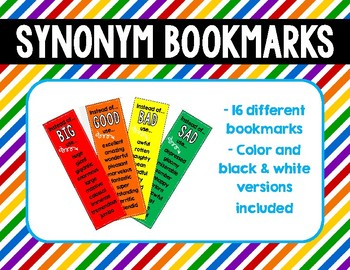 Synonym Bookmarks (Use on bulletin boards, walls or as a reference)