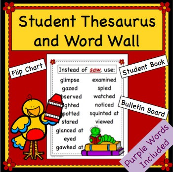 Synonym Bulletin Board and Student Thesaurus - Purple Words