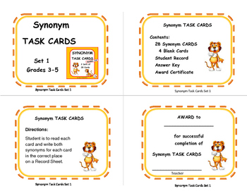 SYNONYMS | Vocabulary Lists | Gr 3-4-5  Language PRACTICE |Task Cards