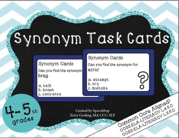 Synonym Task Cards - 4 & 5th Grade {common core aligned}
