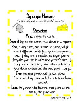 Synonym Center Game: Memory