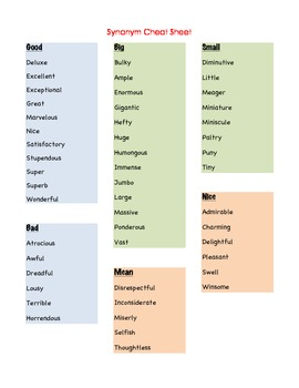 Synonym Cheat Sheets