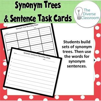 Synonym Christmas Trees Task Cards