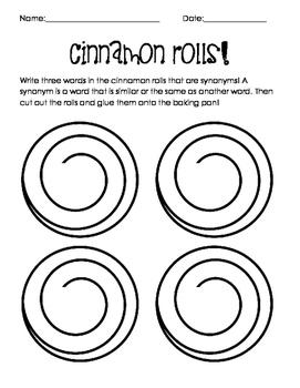 Synonym Cinnamon Roll Activity