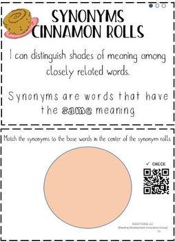 Synonym Cinnamon Rolls: Interactive Vocabulary