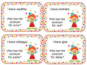 """Synonym Circus: 2 """"I Have, Who Has"""" Games"""