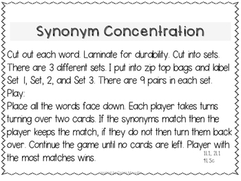 Synonym Concentration Game
