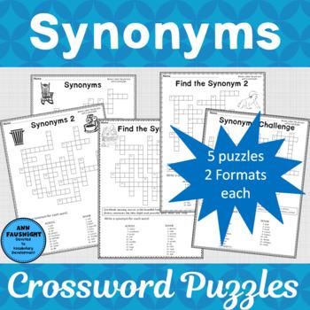Synonym Crossword Puzzles By Ann Fausnight Teachers Pay Teachers