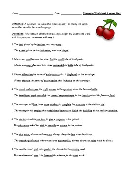 Synonym Definition, Worksheet, and Detailed Answer Key
