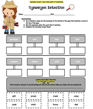 Synonym Detective Worksheet