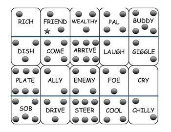 Synonym Dominoes Game - Intermediate Level