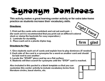 Synonym Dominoes Learning Center Activity- Includes 3 sets