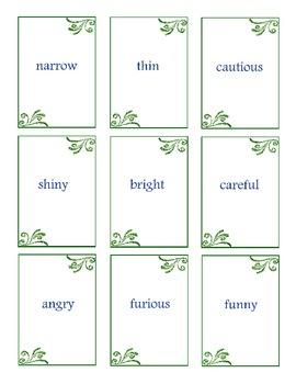 Synonym Flash Cards