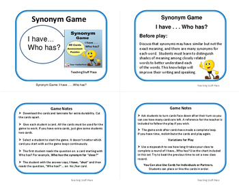 Synonyms | TASK CARDS | GAME | I Have, Who Has? | + Crosswords | Gr. 3-4