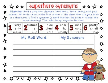 Synonym Game, Literacy Center Activity