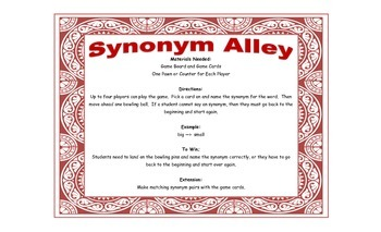 Synonym Game - Synonym Alley for Workstations and Small Groups