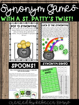 Synonym Games - with a St  Patty's Twist