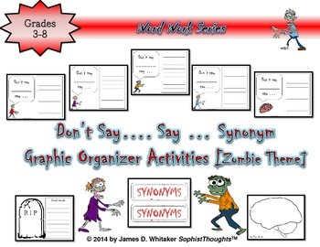 Synonym Graphic Organizers and Activities Zombie Themed
