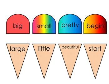 Synonym Ice Cream Match Game