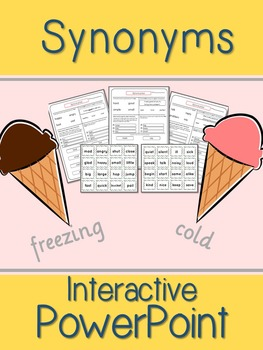 Synonym Interactive Powerpoint w/ Differentiated WS and Bonus Matching Game