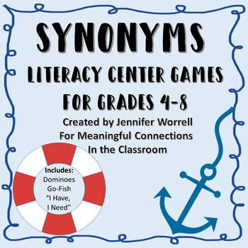 Synonym Literacy Center Games for Grades 4-8
